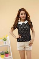 Cheap womens tops fashion 2015 vintage women's short sleeve bow blouse lace blouses Tops Tees blusa de renda camisa feminina M-3XL