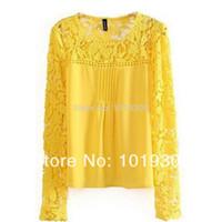 Cheap Free shipping 2015 new Tops Women ladies blouse Lace Chiffion long Sleeve blouses blusas femininas de manga comprida blusa renda