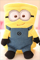 Cheap Retail coral fleece baby air conditioning rolling blanket, travelling car drive blanket, Despicable Me little yellow man blanket