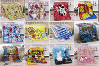 Wholesale Baby Blanket Children Girl Soft Coral Quilt cm Hello kitty Cartoon Characters Blankets Pink Blue color
