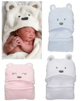 bear hooded towel - New Cute Bear Infant Wrap Skin Friendly Soft Coral Fleece Newborn Baby Blanket Hooded Swaddling Bath Towel