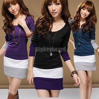 beauty tunics - High Quality Summer Beauty Ladies Womens Multicolors Long Sleeve Striped Tunic Mini Bodycon Dress for Xmas