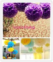 achat en gros de fleurs de papier de soie jaune-(10pcs / Lot) 38cm (10