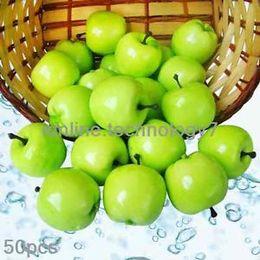 Wholesale 50 fake Green Mini Apples Plastic artificial fruit House Party kitchen decor