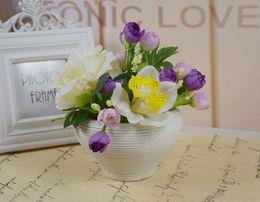 Home Decor Flower Pots Planters Silk Artificial Flowers Arrangements Decorative High Quailty Flowers With Vase Desk Decor