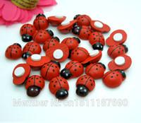 artificial sponges - 100pcs mm Wooden Ladybug With Sponge Sticker Mini Cute Insect Home Decor Artificial Decorative Flowers Crafts