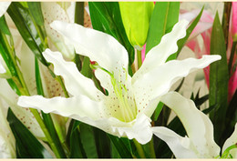 Wholesale three tiger lilies orchid High simulation flower artificial plants flowers home decorate manufacturers silk flowers