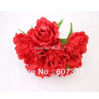big red rose bouquet - 5 cm big Red Fabric Peony rose Flower for decoration Bouquet wedding flower