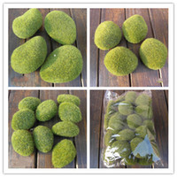 Cheap 30pcs lot free shipping Artificial Green Moss Stones Foam artificial flock pebbles Vase Garden Decorations Various sizes