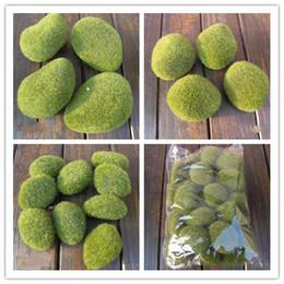 Wholesale 30pcs Artificial Green Moss Stones Foam artificial flock pebbles Vase Garden Decorations Various sizes