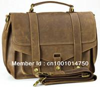 Wholesale Vintage Style Mens Real Leather Briefcase Shoulder Bag Satchel Laptop Case