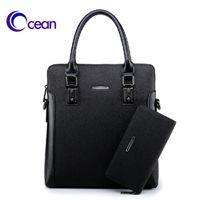 Wholesale Ocean black blue coffee gray micro leather PVC man s vertical handbag man briefcase bag men bag