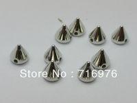 achat en gros de perles goujons pointes-Livraison gratuite 500 Tone Silver Metallic Punk Rock de Spike Rivet Acrylique Taper Perles Stud 6x6mm (W02146)