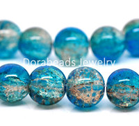 aqua coffee - Strands Aqua Blue amp Coffee Crackle Glass Beads mm B12254