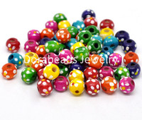 Wholesale Mixed Dyed Dot Round Wood Spacer Beads x9mm B14228