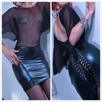 plus size clubwear - Plus Size Sexy Gothic Black Fetish Lace Up Catsuit PVC Faux Leather Lace Bodycon Dress Clubwear Dancing Dress