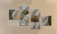 Cheap Hand Painted Large Flower Abstract Art Oil Painting Modern 4 Panel Set Wall Picture Canvas Art Home Decoration For Living Room