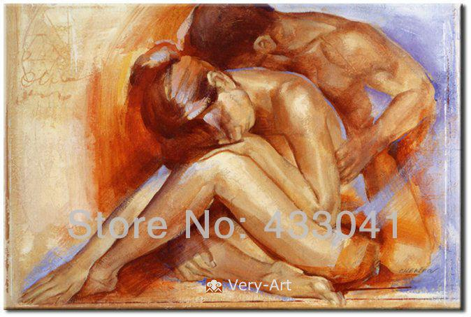 Hand Painted Nude Oil Painting Happy Couples Large Modern Wall Canvas Abstract Art For Sale Home Decor For Living Room Art For Wall Decoration Art Moon Art