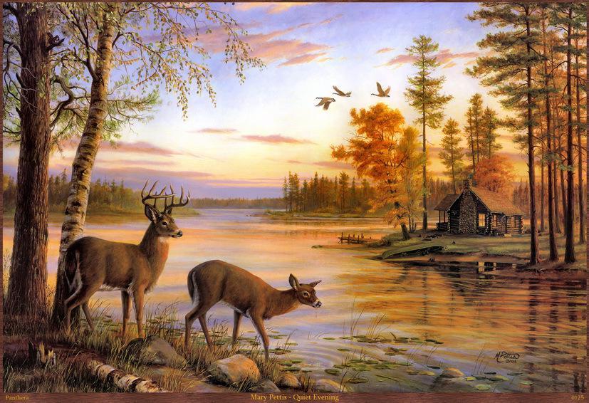 Modern home decorative scenery cuadros moose pictures deer for Deer scenery