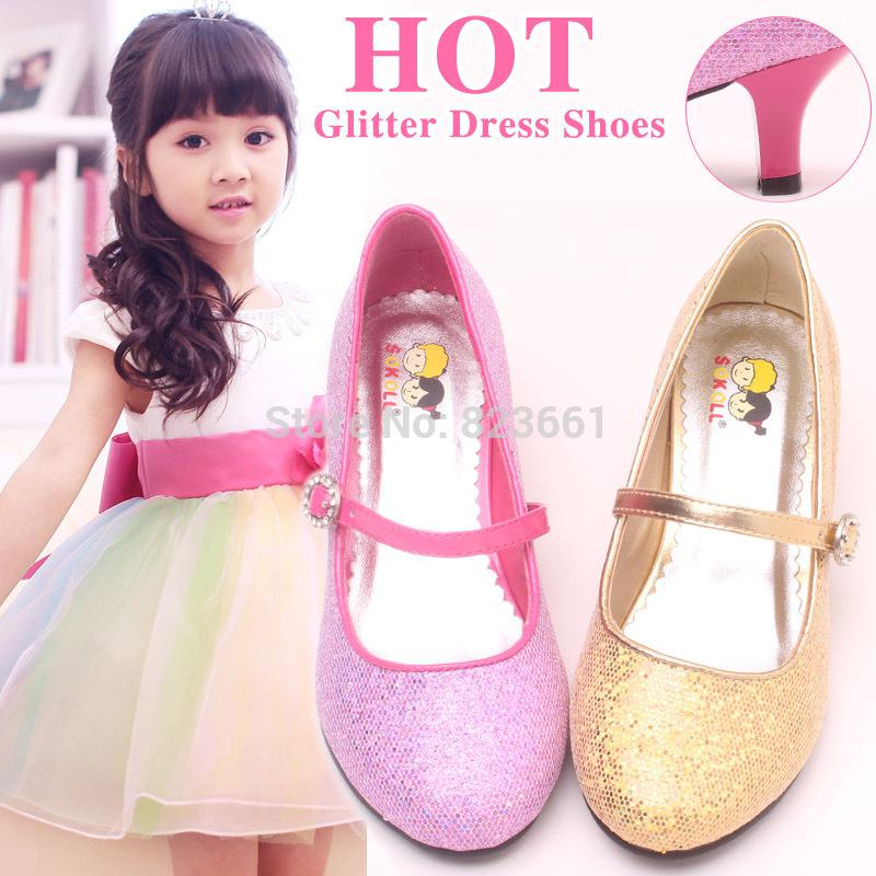 Wholesale-2015 Glitter Princess High Heels Shoes Girls Kids Dressy