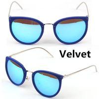 amber velvet - NEW Velvet Cat eye Shape glasses Vintage Retro Sunglasses Oculos de sol Women gafas Fashion sense fluffy sun glasses