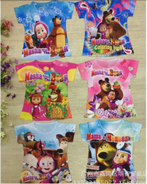 Wholesale New kids cartoon Masha and the bear t shirts boys girls printing cute tees tops children s lovely t shirts in stock
