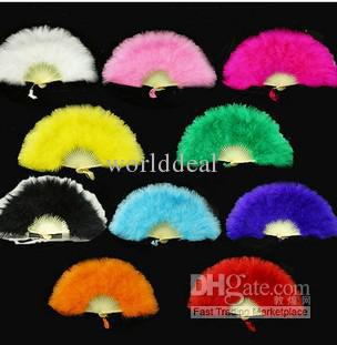 Buy 12 burlesque ladies fans dance feather Hand fan halloween party costume color u pick