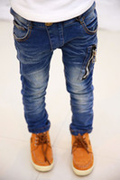 Wholesale NEW Y Children s Boy s Casual Light Washed Jeans Elastic Zip Regular Skinny Cotton High Quality Super Cool Fashion