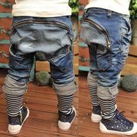 Wholesale brand children clothes boys jeans back zipper decor kids casual denim harem pants Spring Autumn Fashion Trousers for Y