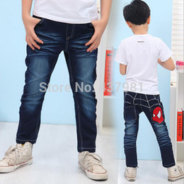Wholesale-Retail - 1 PC a lot of new spring spider man jeans, baby boy jeans denim trousers