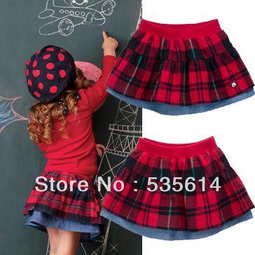 2017 Girls Plaid Skirt Children Kids Double Deck Pleated Skirts ...