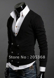 Wholesale Hot Men s Sweater Men s Double platoon to buckle import abb knitting cardigan sweater shirts Black Gray Size M L XL