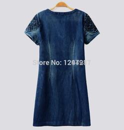 Wholesale Best Sale new summer denim dress good qualtiy women loose fashion jean dress slim short sleeve plus size