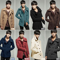 army pea coat - England Men S Cashmere Coat Fashion Long Sleeved Lapel Double Breasted Pea Coat And Long Sections Slim Woolen Coat