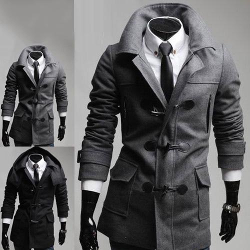 Men's Trendy Slim Fit Toggle Coat Duffle Coat With Hoodie Black ...