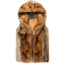 2015 winter warm mens fur vest Fashion hooded sleeveless coat for men faux fur vest for youth plus size xxxl AY102