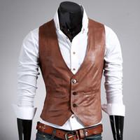 asian vest men - New Arrival Fashion Men Slim Vest Mens PU Leather Vests Men Waistcoat Vest Jacket Outwear Veste Homme Asian Tag Size M XL
