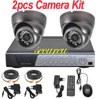Precio de Sistema de seguridad de la bóveda del ccd-Kit cctv 2 canales sistema de vigilancia cctv toda instalar IR seguridad cctv interior de la bóveda de la cámara de 4 canales grabador de vídeo digital DVR D1 completa