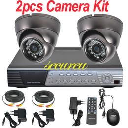 Kit cctv 2 canales sistema de vigilancia cctv toda instalar IR seguridad cctv interior de la bóveda de la cámara de 4 canales grabador de vídeo digital DVR D1 completa desde sistema de seguridad de la bóveda del ccd fabricantes