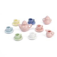 Wholesale New Colorful Dollhouse Miniature Dining Ware Porcelain Tea Set Dish Cup Plate