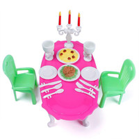 Wholesale Dining Room Plastic Furniture Table Chairs Set Dollhouse DIY Gift Doll House Toys