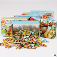 Wholesale 60 Cartoon Tin Box Wooden Puzzle Toys For Children Cute Early Education Kids Puzzle Toys For Educational Toys
