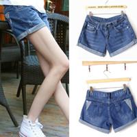 Cheap Shorts Jeans Feminino Women Mid Waist Ripped Denim Shorts Ripped Jeans Shorts Femininos 2015
