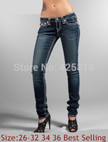 Wholesale New arrival discount brand name Jeans fashion causal true branded women slim cut straight jeans best selling