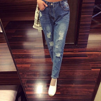 Wholesale sexy boyfriend blue ripped jeans for women summer ladies push up jeans women torn with hole vintage woman jins large size