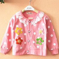 Wholesale 2015 spring Autumn cardigan children outerwear full sleeve dot lace flower sweatshirt baby girls jacket