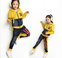 autumn rice - New Spring Autumn baby girls children Cowboy stitching sports suits zipper jacket long pants kids Rice flag clothes se