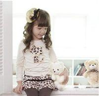 baby rhinestone shirts - Autumn Baby Girl Clothing Set Rhinestone Leopard Cartoon Cat Children Suit Long Sleeve Top T Shirt skirt Pants Twinset