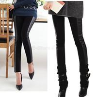 basic boots - Black fashion woman leggings Spring skinny pants leather patchwork basic boot cut jeans pencil pants legging P92