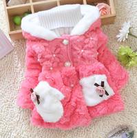 bebe fur collar - 2015 New children outerwear baby girl winter coat kids thick warm fur hoodies jackets bebe fashion outerwear coat